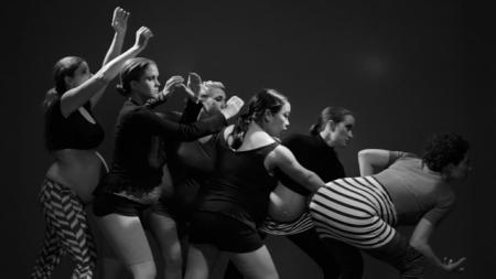 Six Twelve One by One, a performance by Emily Mast and Hana van der Kolk. With Abbey O'Bryan, Emily Mast, Julie Clark, Leslie Stevens, Ruby Rain and Whitney Carter. Photo: Martin Dicicco.