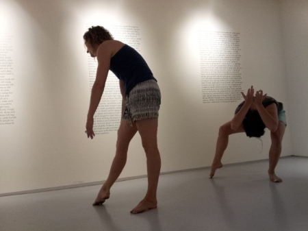 Flora Wiegmann and dancers, Periodic dance movements and notational text constituting a final performance, at c. nichols project, April 30, 2014