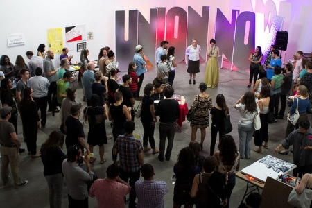 A solidarity spell led by the Oracle of Los Angeles, Amanda Yates Garcia. Photo: Concrete Walls Projects.