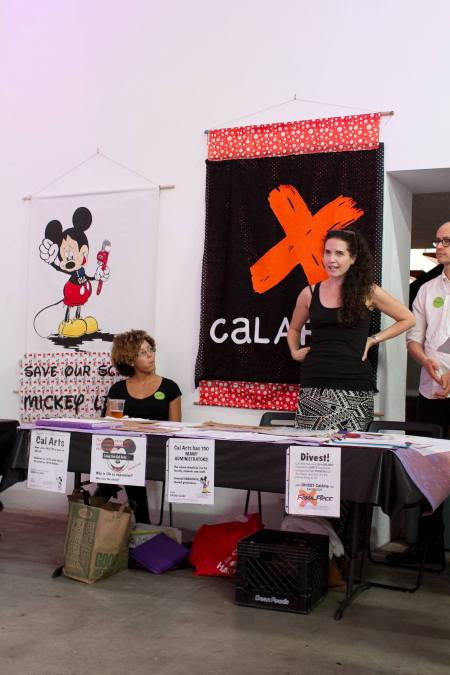 Lydia Marie Hicks of Occupy CalArts and Cori Redstone of Divest CalArts. Photo: Concrete Walls Projects.