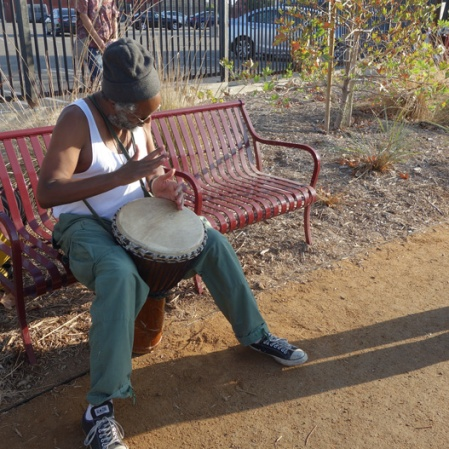 From the Rock/A River Fable by Margaret Laurena Kemp. Pictured: drummer Hassan Jamal.
