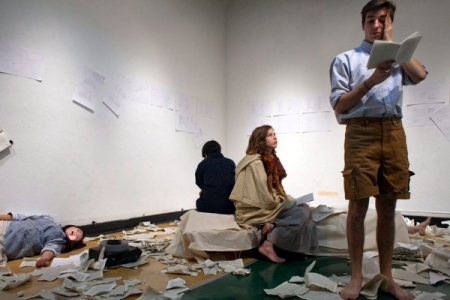 Motherload (2012), performed at CalArts by a cast that included Jocelynn Suarez, Johanna Hedva, Claire Kohne, and Miles Hartfelder (pictured).